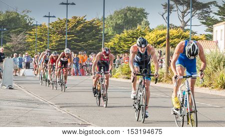 Cyclists Straight For A Road Bike Race