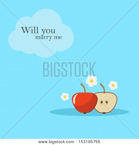 cards design with an apple and an apple half. The phrase will you marry me