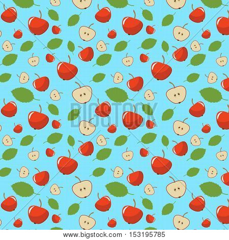 seamless pattern with red apple and apple in a cut. turquoise background