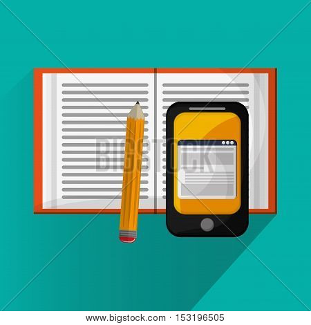 Smartphone book and pencil icon. Social media marketing and communication theme. Colorful design. Vector illustration