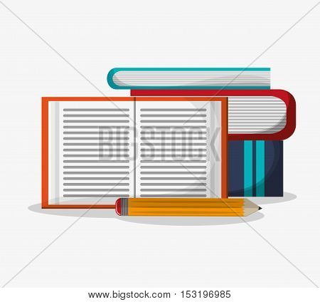 Books and pencil icon. Education literature read and library theme. Colorful design. Vector illustration