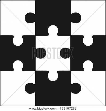 Jigsaw puzzle blank simple vector of nine pieces