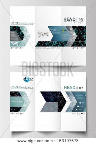 Tri-fold brochure business templates on both sides. Easy editable abstract layout in flat design. Virtual reality, color code streams glowing on screen, abstract technology background with symbols.