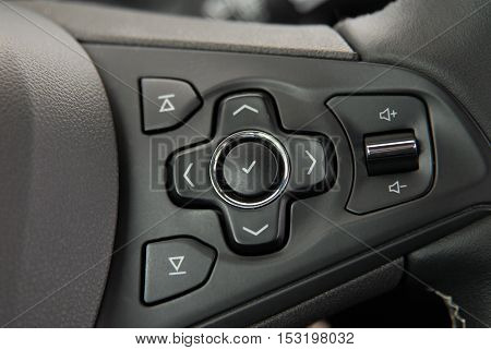 detail on the steering wheel with controls