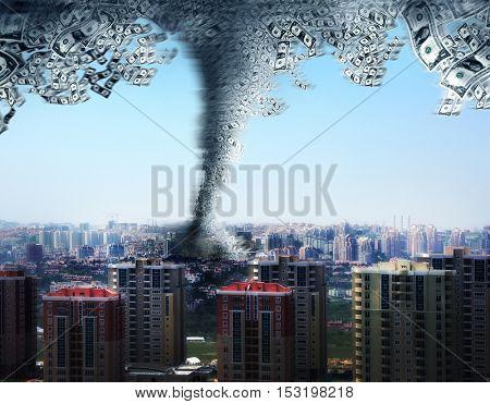 an image of  tornado with dollar bills