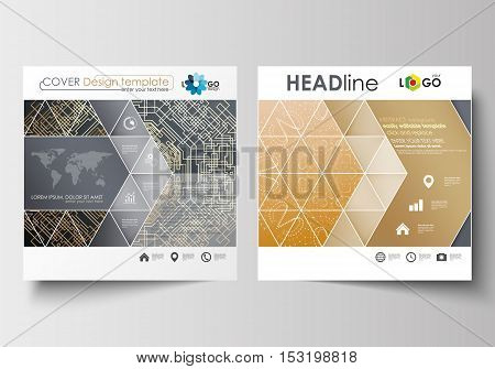 Business templates for square design brochure, magazine, flyer, booklet or annual report. Leaflet cover, abstract flat layout, easy editable blank. Golden technology background, connection structure with connecting dots and lines, science vector.