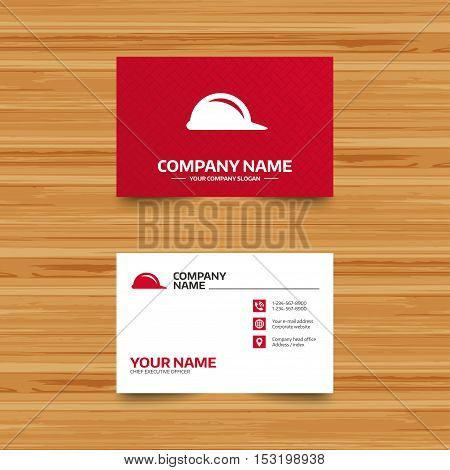 Business card template. Hard hat sign icon. Construction helmet symbol. Phone, globe and pointer icons. Visiting card design. Vector