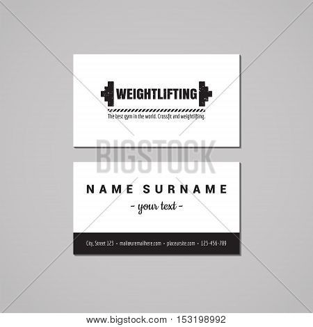 Sport & fitness vintage business card design concept. Logo with barbell. Vintage hipster and retro style.