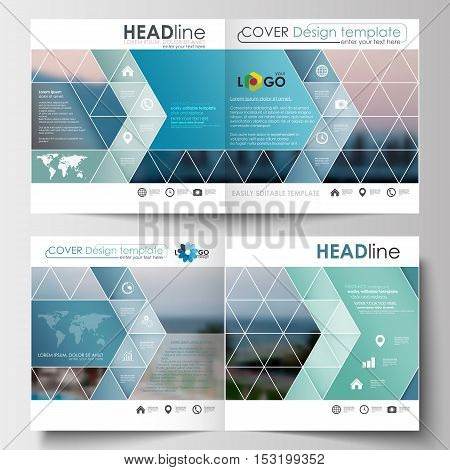 Business templates for square design brochure, magazine, flyer, booklet or annual report. Leaflet cover, abstract flat style travel decoration layout, easy editable vector template, colorful blurred natural landscape.