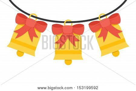 Golden bells with red ribbon on white background . Vector illustration