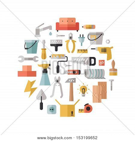 Home repair and construction multicolored flat circle vector illustration. Modern minimal design.