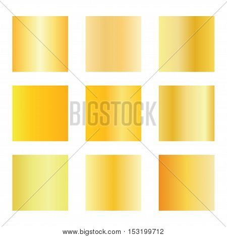 Set of gold gradients. Golden backgrounds. gold metal texture background. Vector illustration.