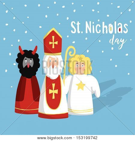 Cute St. Nicholas with devil and angel christmas invitation card. Flat design vector illustration winter background.