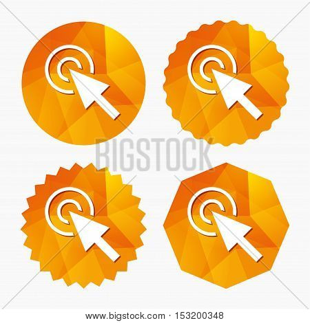 Mouse cursor sign icon. Pointer symbol. Triangular low poly buttons with flat icon. Vector