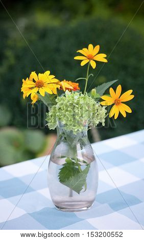 Bouquet of wildflowers on rustic table at country cottage. Picture of beautiful vase with yellow flowers in outdoors.