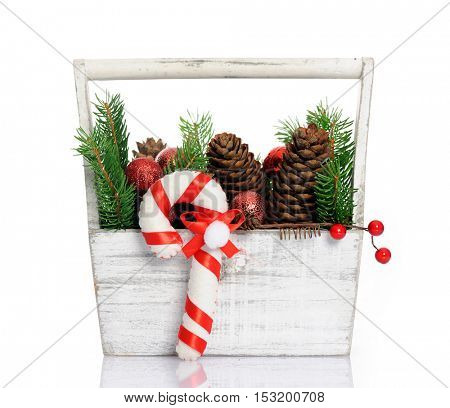 basket with christmas decoration
