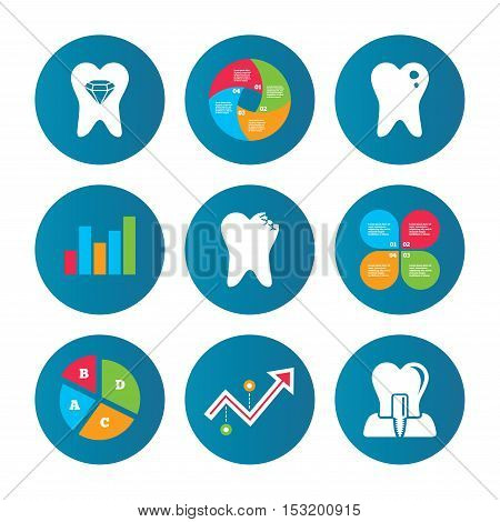 Business pie chart. Growth curve. Presentation buttons. Dental care icons. Caries tooth sign. Tooth endosseous implant symbol. Tooth crystal jewellery. Data analysis. Vector