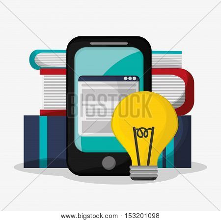 Smartphone bulb and books icon. Social media marketing and communication theme. Colorful design. Vector illustration