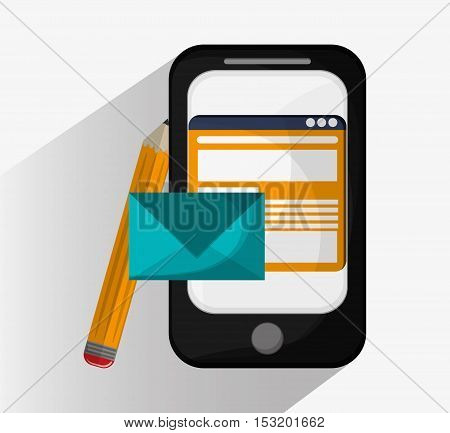Smartphone pencil and envelope icon. Social media marketing and communication theme. Colorful design. Vector illustration