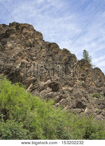 A layered cliff in Oregon towers above the trees reaching for the sky.