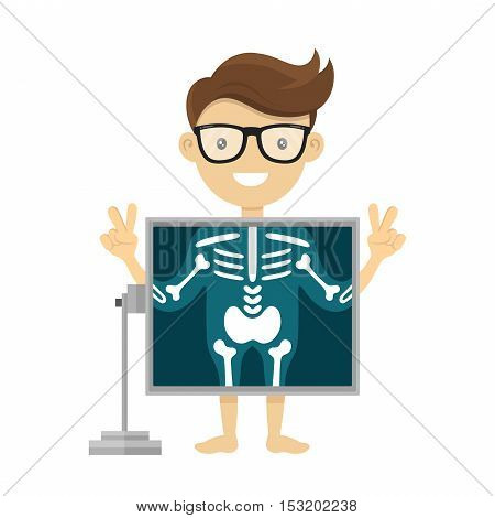Patient during x-ray procedure. Vector radiologist x-ray flat character cartoon illustration. Isolated on white background