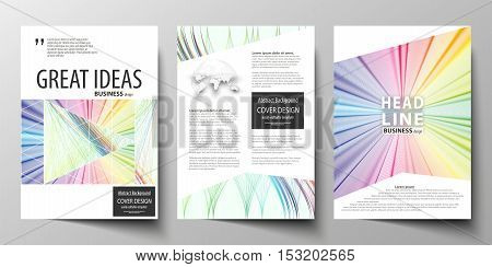 Business templates for brochure, magazine, flyer, annual report. Cover template, easy editable vector, flat layout in A4 size. Colorful background with abstract waves, lines. Bright color curves. Motion design.