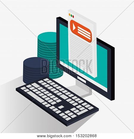 Computer icon. Social media marketing and communication theme. Colorful design. Vector illustration