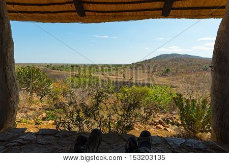 Panoramic view from wooden window in tourist resort in the Kruger National Park South Africa. Relaxing people looking at view human feet only included.