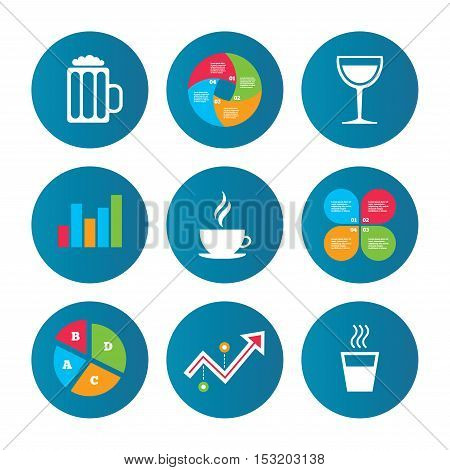 Business pie chart. Growth curve. Presentation buttons. Drinks icons. Coffee cup and glass of beer symbols. Wine glass sign. Data analysis. Vector