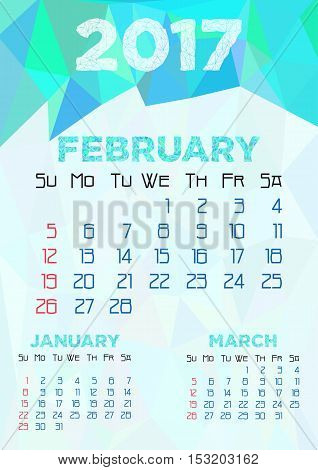Abstract polygonal background with triangular ornament in cyan and dates of winter month February 2017. Week starts from Sunday. Vector illustration