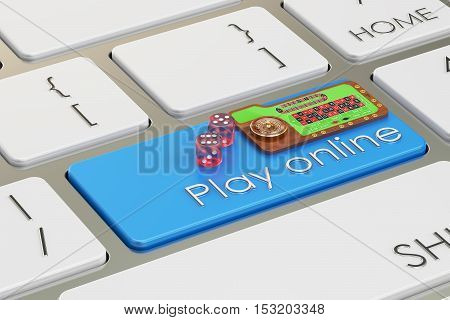 Casino play online concept on keyboard button 3D rendering