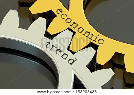 Economic Trend concept on the gearwheels 3D rendering