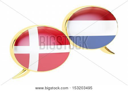 Speech bubbles Danish-Dutch translation concept. 3D rendering