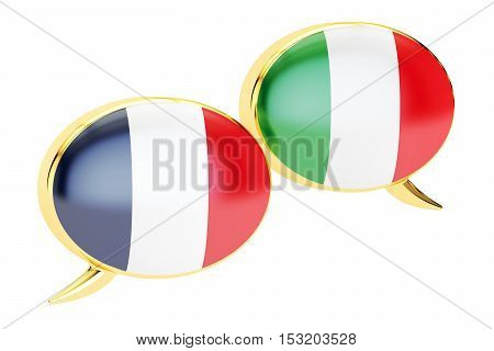 Speech bubbles Italian-French translation concept. 3D rendering