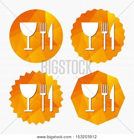 Eat sign icon. Cutlery symbol. Knife, fork and wineglass. Triangular low poly buttons with flat icon. Vector