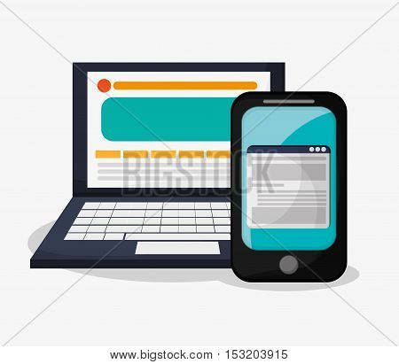 Smartphone and laptop icon. Social media marketing and communication theme. Colorful design. Vector illustration