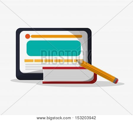 Tablet book and pencil icon. Social media marketing and communication theme. Colorful design. Vector illustration
