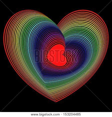 Red heart into the lot of concentric spectrum color heart shapes on the black background vector artwork