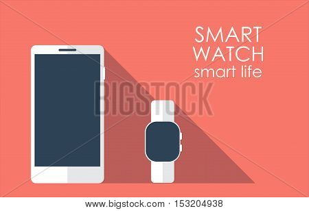 Smartphone with smart watch with long shadow. Template vector illustration.