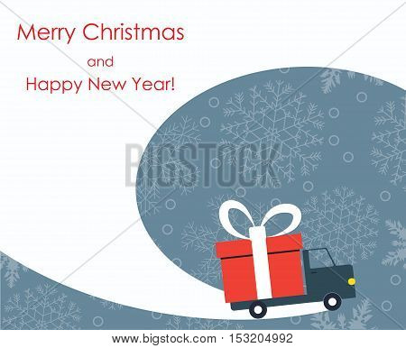 Christmas and New Year greeting card with gift delivery van goes on winter road with snowflakes background. Vector illustration.