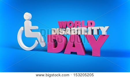 World Disability Day, 3D Man in wheelchair Symbol, 3D Disabled Symbol