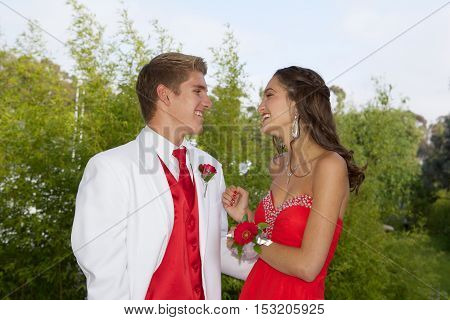 High School Students Going to the Prom.  Outside Photos of an attractive young teenage couple looking at each other.