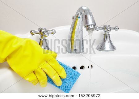 Sink cleaning.