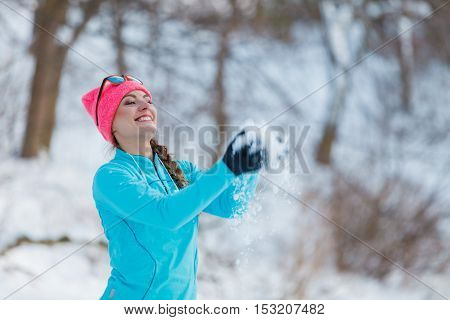 Silly Girl Playing With Snow