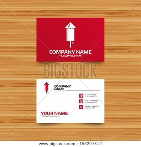 Business card template. Fireworks rocket sign icon. Explosive pyrotechnic device symbol. Phone, globe and pointer icons. Visiting card design. Vector
