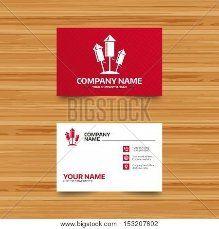 Business card template. Fireworks rockets sign icon. Explosive pyrotechnic device symbol. Phone, globe and pointer icons. Visiting card design. Vector