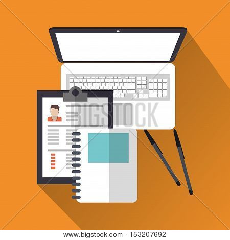 Document and laptop icon. Human resources search employee and business theme. Colorful design. Vector illustration