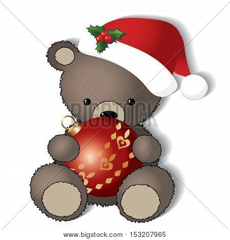 Teddy bear is ready for the Christmas -vector isolated on white background