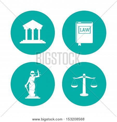 Balance book statue and building icon. Law justice legal and judgment theme. Blue and white design. Vector illustration