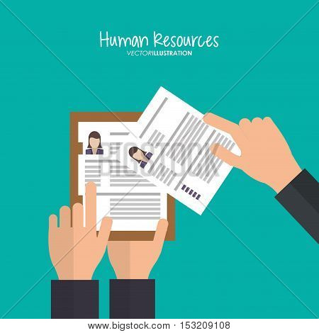 Document icon. Human resources search employee and business theme. Colorful design. Vector illustration